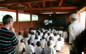 School class inside of temprary school building.