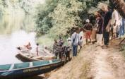 Canoe-transport to Pygmies, which never saw white men before.