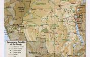 Landkarte der Demokratischen Republik Kongo.