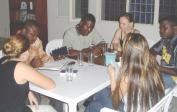 Biblestudy at our house: f.l.t.r.: Genevieve, Eric, José, Lenka, Naomi and Doudou.