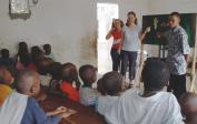 "Genevieve & Lenka giving flannelgraph story in orphanage ""PROKIN"", Kinshasa."