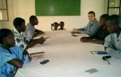 Mathew and our new friends in Mbandaka singing together before a Biblestudy.