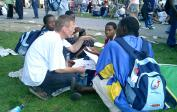 Wolfgang talking with a group from Tanzania at the World Youth Day in Köln.