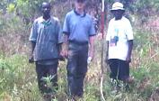 Michel, Andre & team measure the land for the construction of the school & made 14'000 bricks for it.