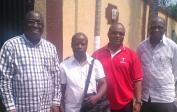 Gilbert, Jean, André and Francois meeting in Kinshasa to plan Jeans future in our project.