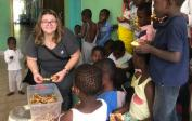 Madlen and the orphans in the Kimbondo orphanage