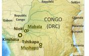 (14) Mushapo, Tshikapa, hl. město Kinshasa a Mabala u Nioki