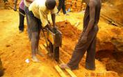 23 & 24. 2011: For the school construction in Mushapo - brick pressing of local clay and burning bricks in kiln